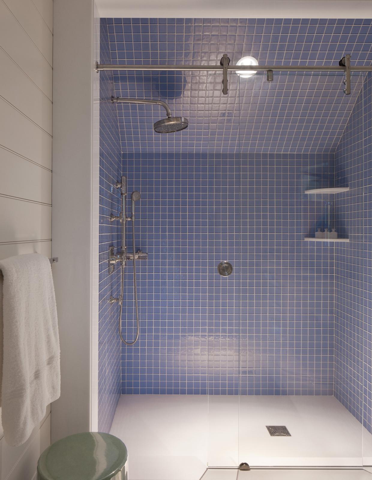 blue tile shower