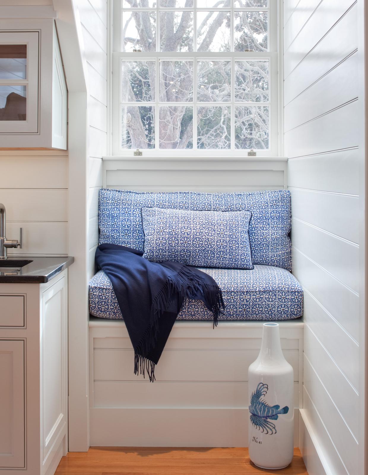 blue window seat