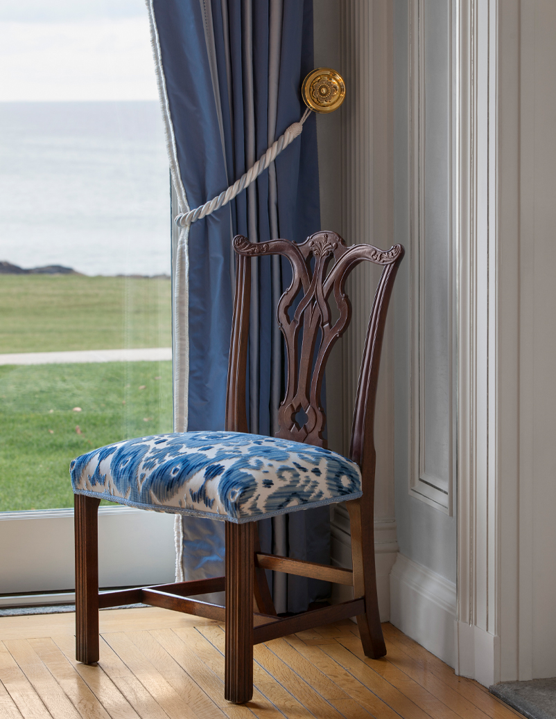 chair with ikat blue upholstery