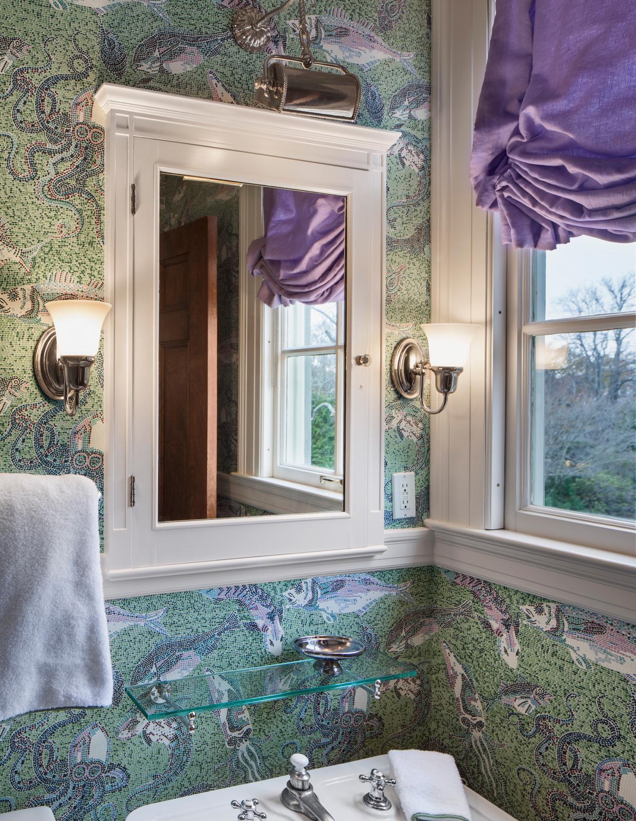 purple and green pattern wallpaper bathroom