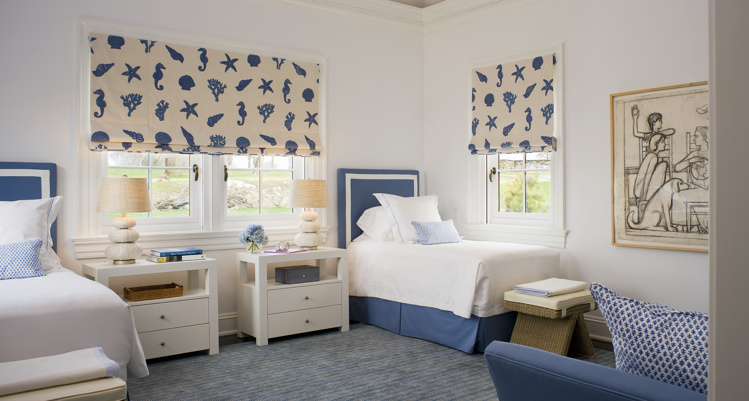 seaward cottage bedroom with twin beds