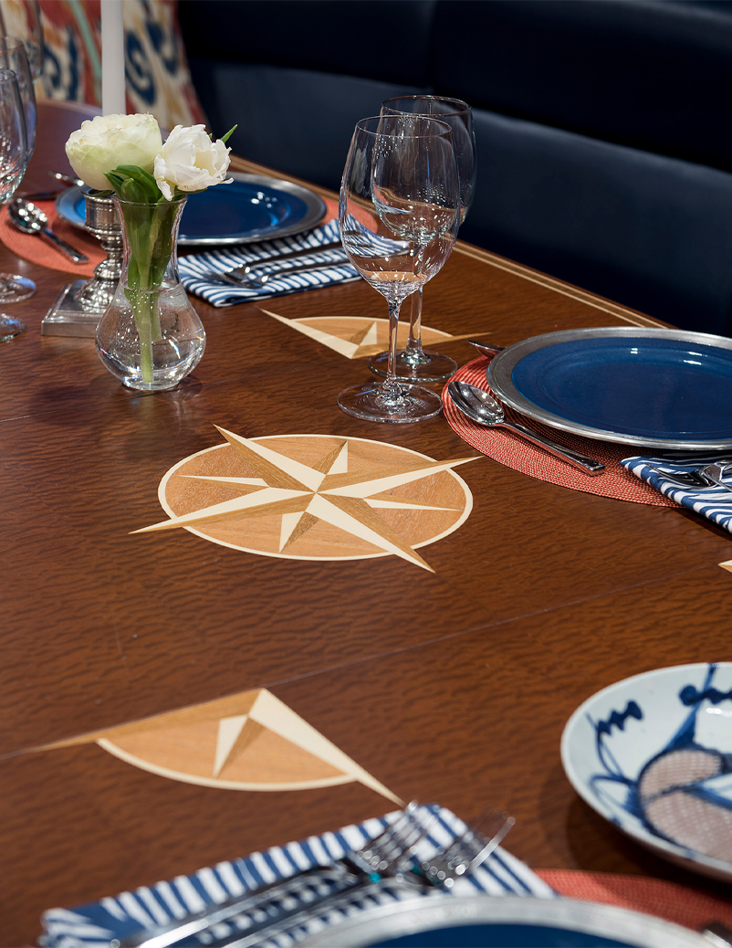 super yacht dining table detail
